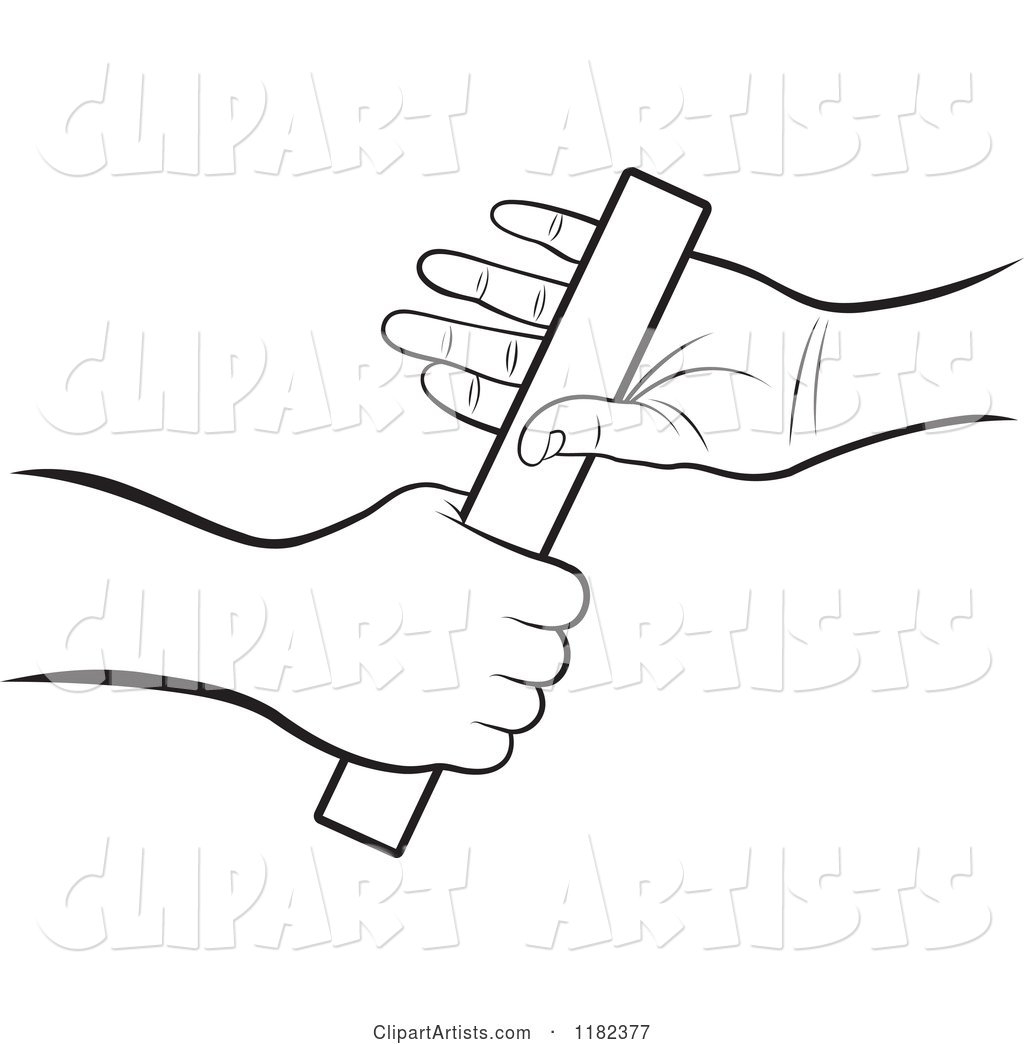 Black and White Hands Passing a Relay Race Baton Clipart by.
