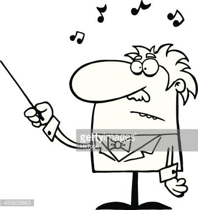 Black and White Orchestra Conductor Holds Baton Clipart.