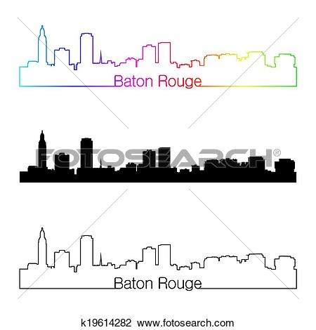 Clipart of Baton Rouge skyline linear style with rainbow k19614282.