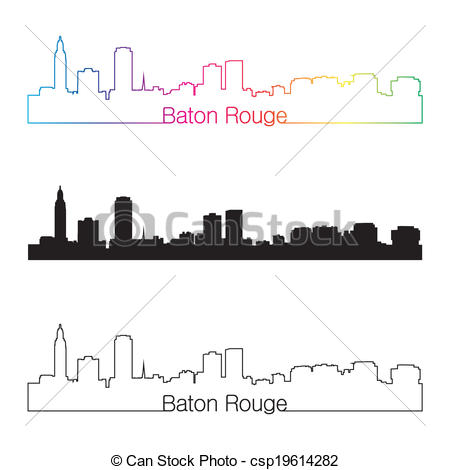 Vector of Baton Rouge skyline linear style with rainbow in.