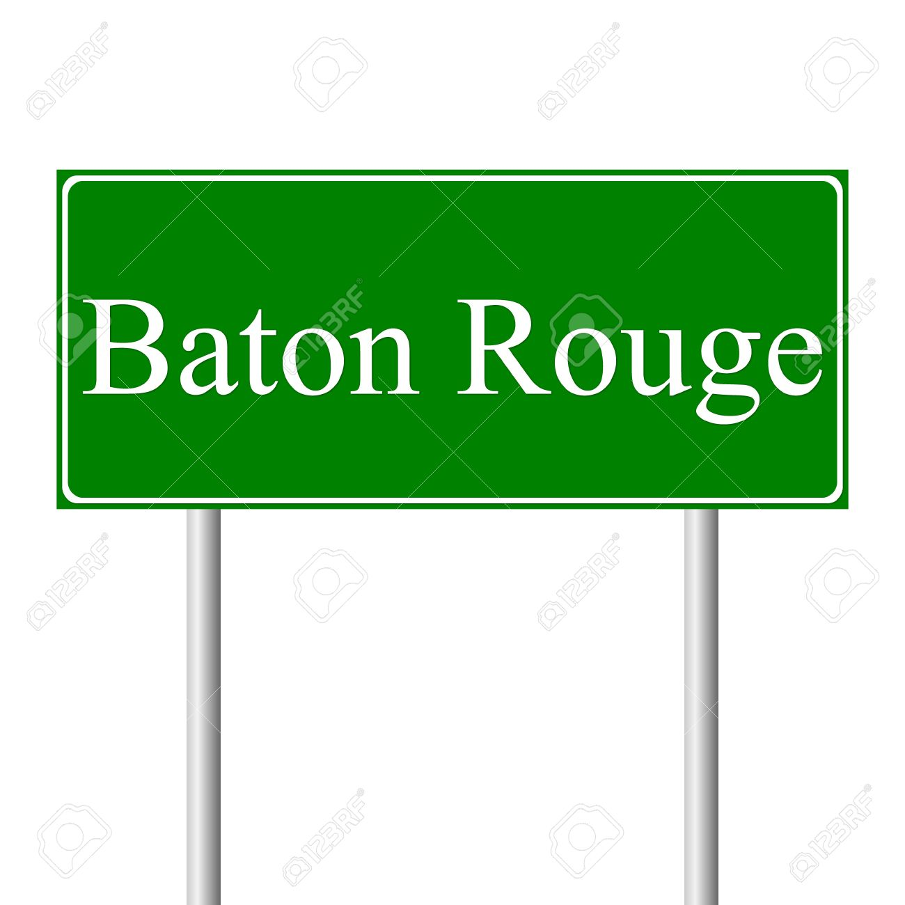 Baton Rouge Green Road Sign Isolated On White Background Royalty.