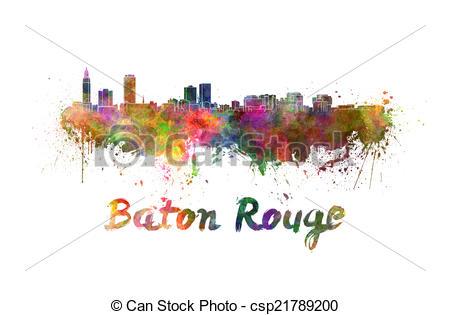 Stock Illustration of Baton Rouge skyline in watercolor splatters.