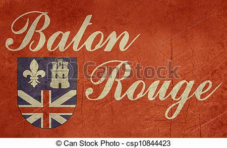 Clip Art of Grunge Baton Rouge flag.