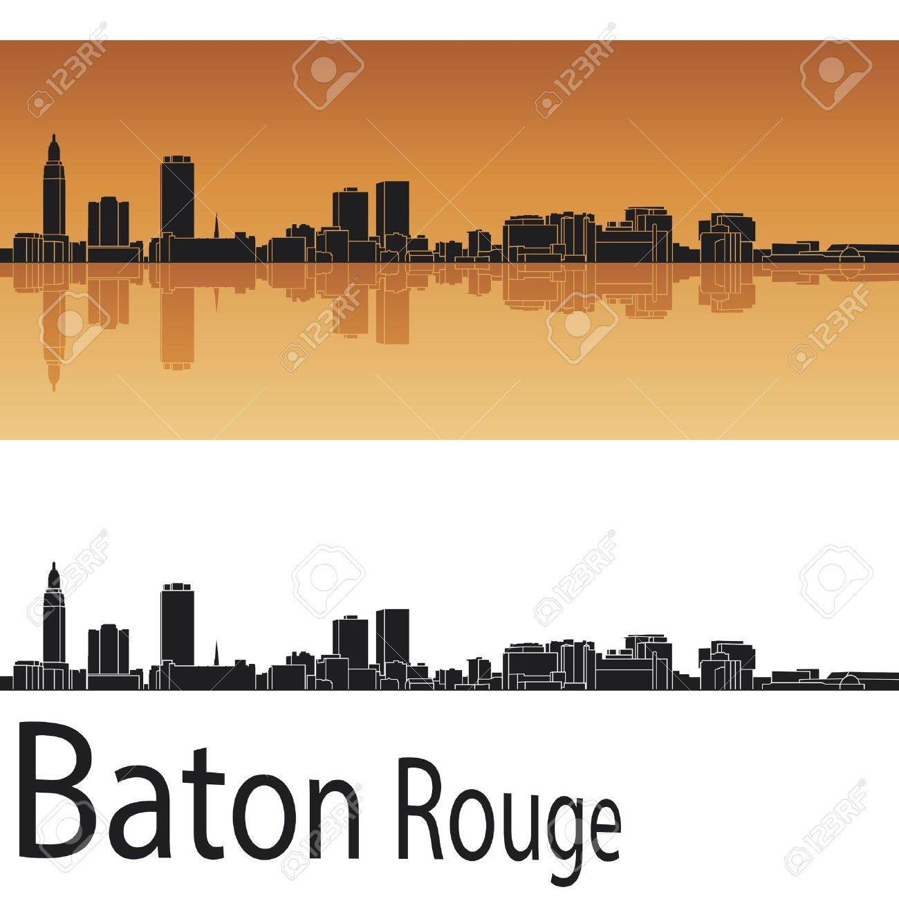 Baton Rouge Skyline In Orange Background In Editable Royalty Free.