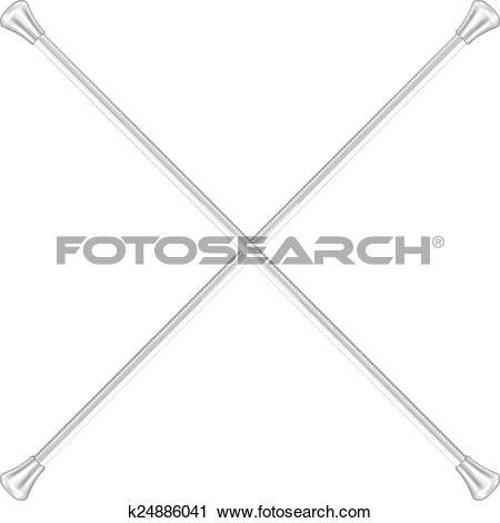 Clipart of Two crossed twirling batons k23294962.