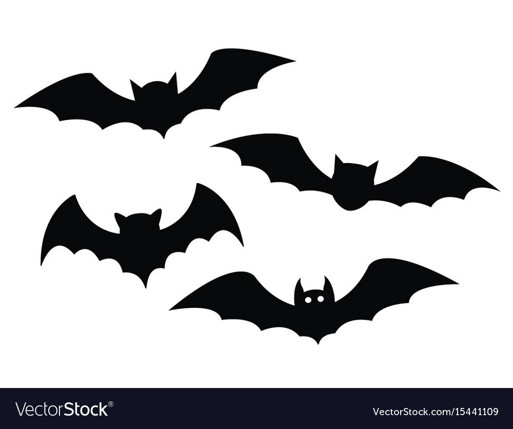 Black bats set on a white background.
