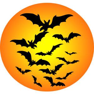 Black Flying Bats Halloween Clip Art, Free Halloween Graphic.