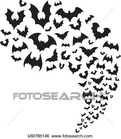 Flying bats flock. Creepy halloween bat fly from cave. Scary nocturnal  animal at sky horizontal divider vector illustration Clip Art.