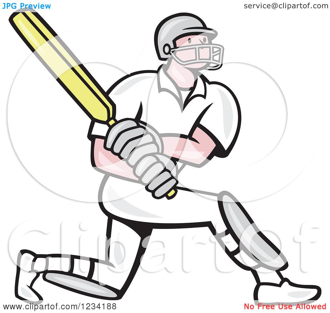 Clipart of a Cricket Batsman in Profile.