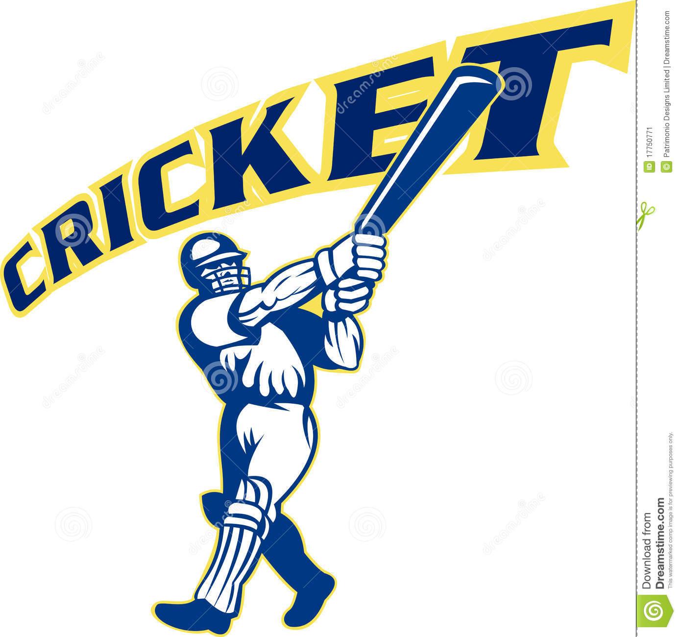 Cricket Player Batsman Batting Retro Stock Illustrations.