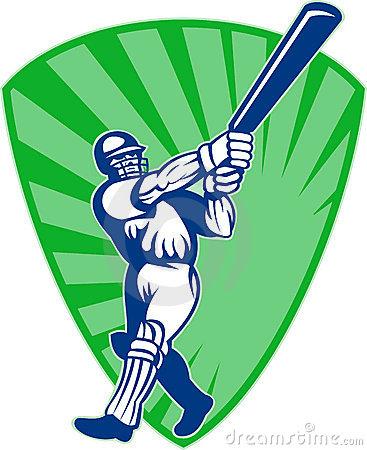 Cricket Batsman Batting Front View Stock Illustrations.