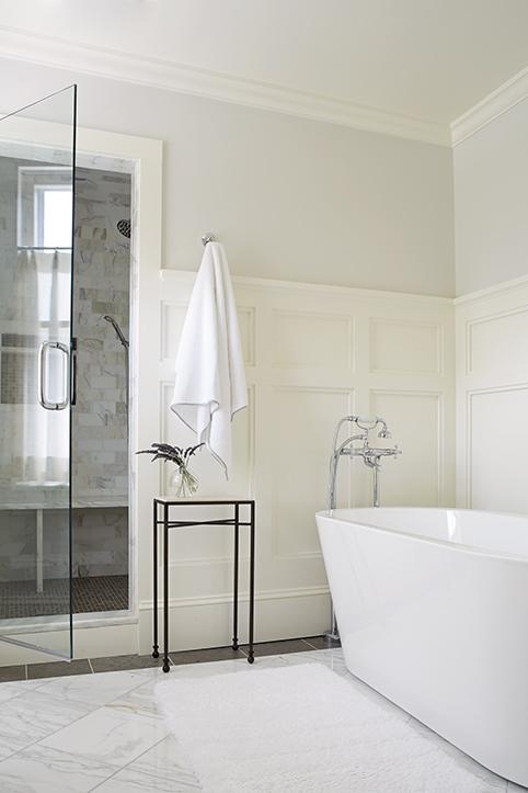 Bathroom board and batten trim, white board and batten bathroom.