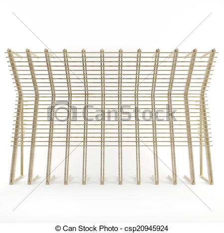 Clip Art of 3 D Art object of wooden battens on white background.