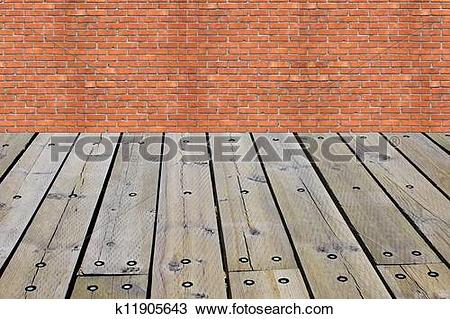 Stock Photo of Brick wall and battens. A background k11905643.