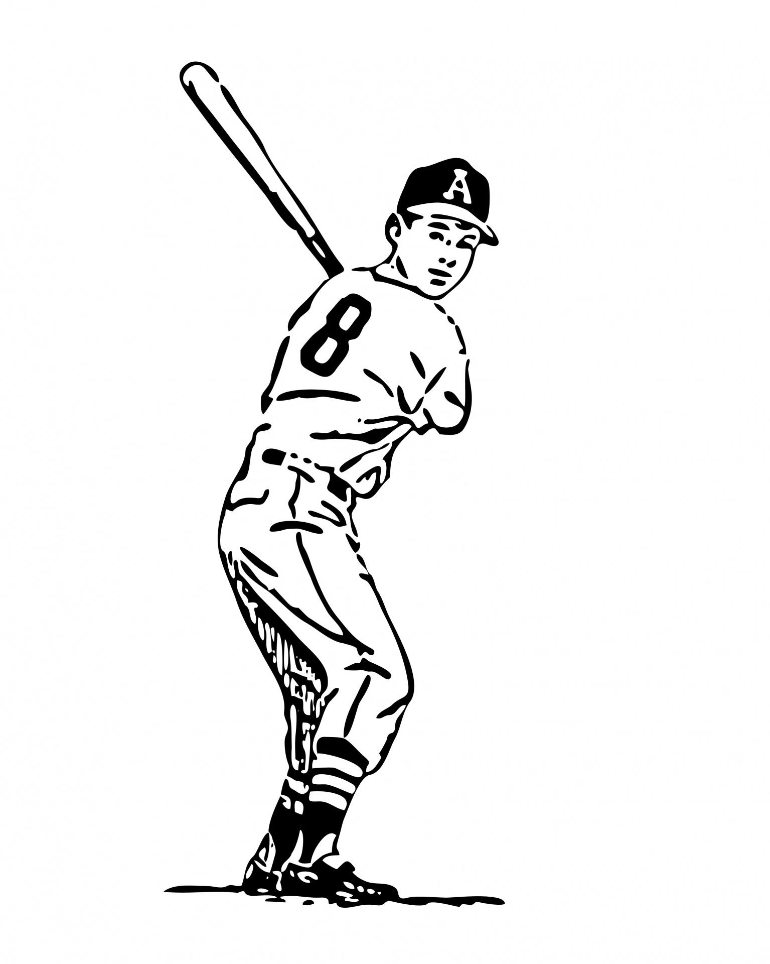 Baseball Batter Clipart Line Art Free Stock Photo.