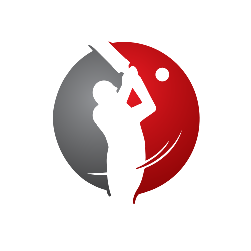 Red Cricket Batter Logo.