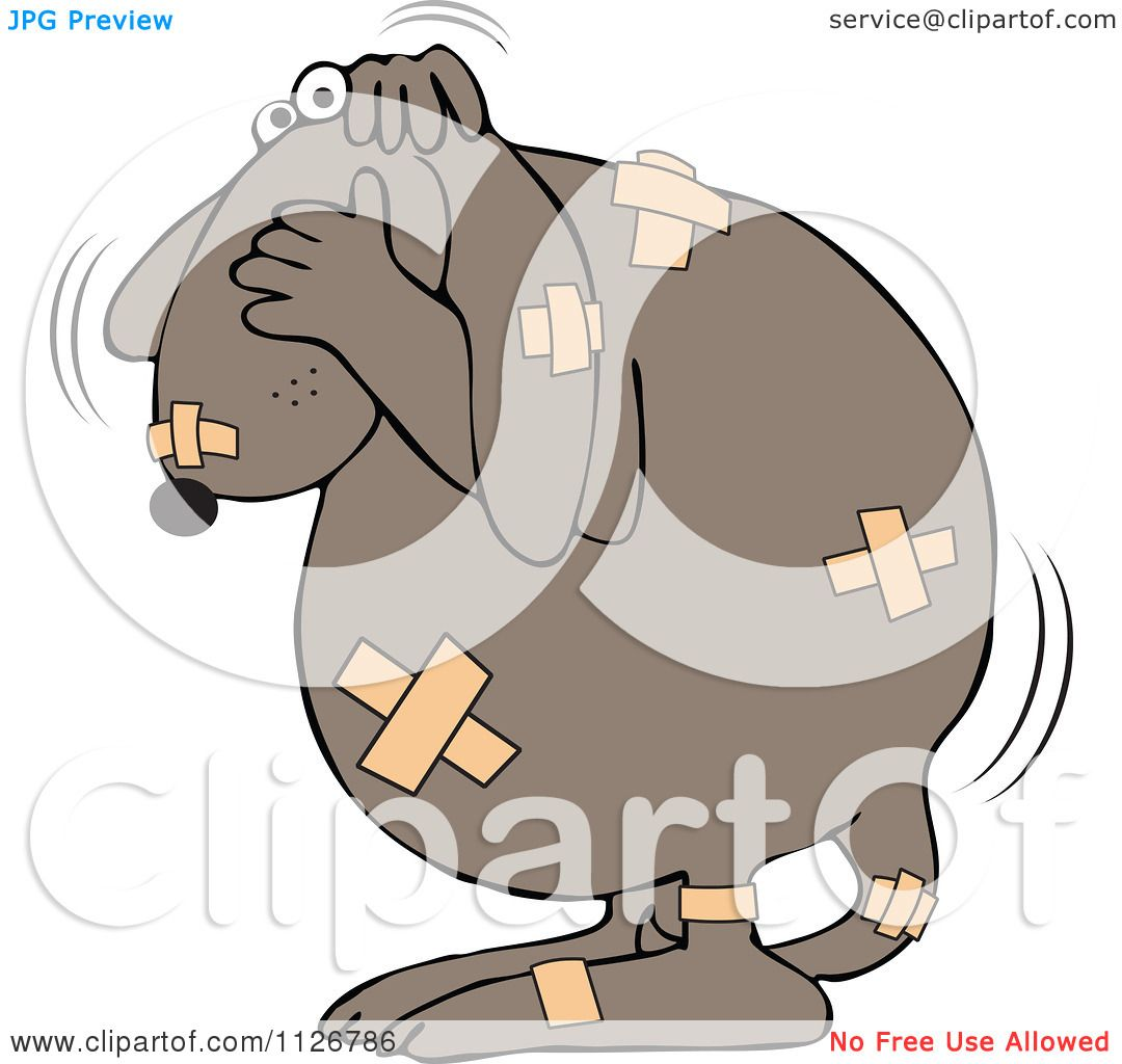 Cartoon Of A Battered Dog Covered In Bandages.
