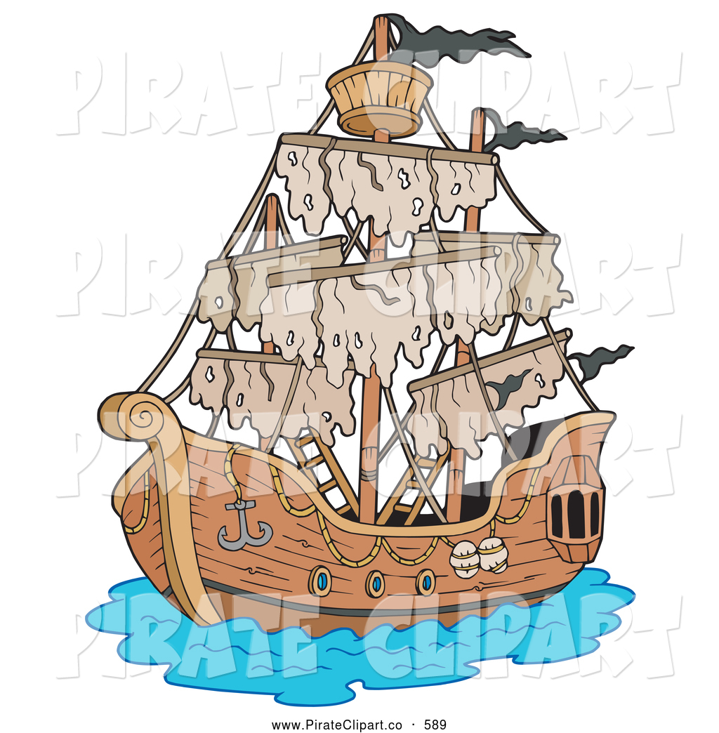 Vector Clip Art of a Mysterious Ghostly Battered Pirate Ship by.