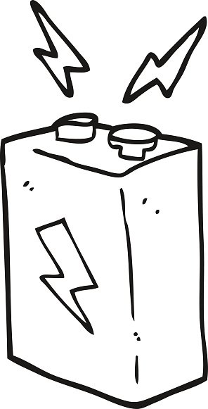 black and white cartoon battery Clipart Image.