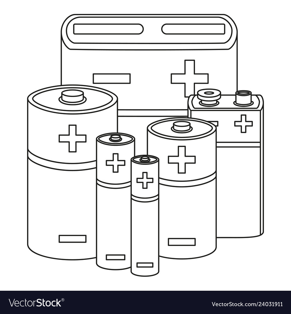 Line art black and white battery set.