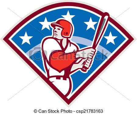 Clip Art Vector of Baseball Batter Hitter Bat Diamond Retro.