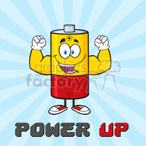 royalty free rf clipart illustration happy battery cartoon mascot character  flexing vector illustration poster with text power up and background ..