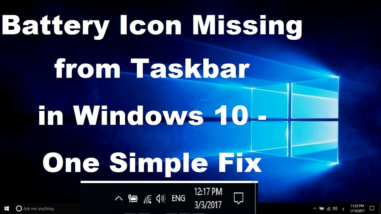 Where is the battery icon for windows 10.