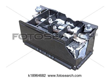 Stock Photo of Motor Vehicle Battery Destroyed By Internal.