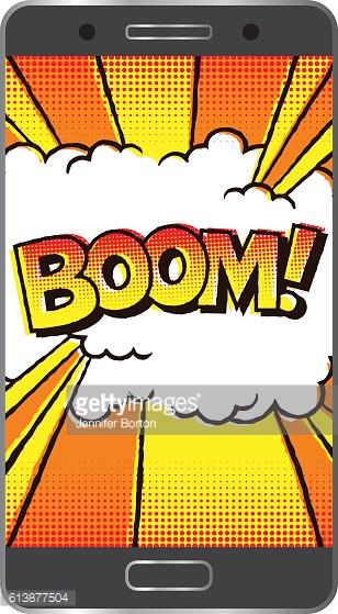 Smartphone Battery Explosion Vector Art.