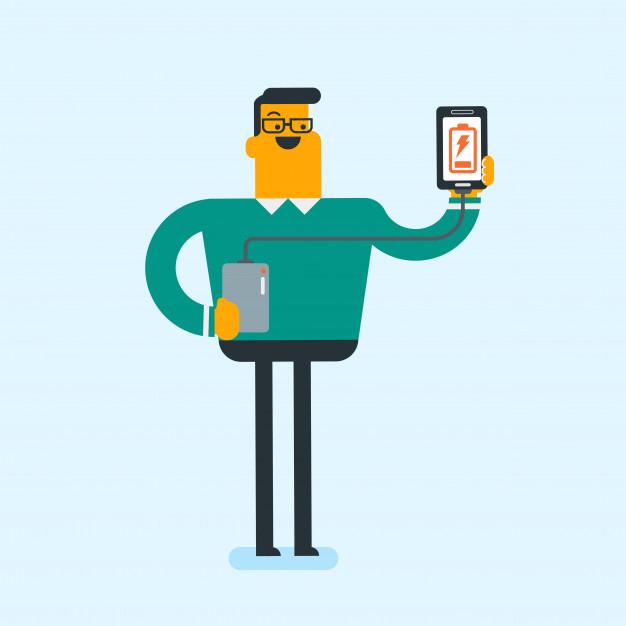 Man reharging smartphone from portable battery. Vector.