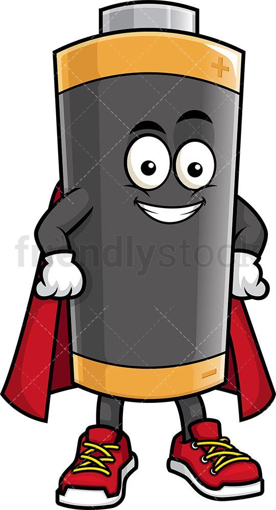 Battery Mascot Superhero.