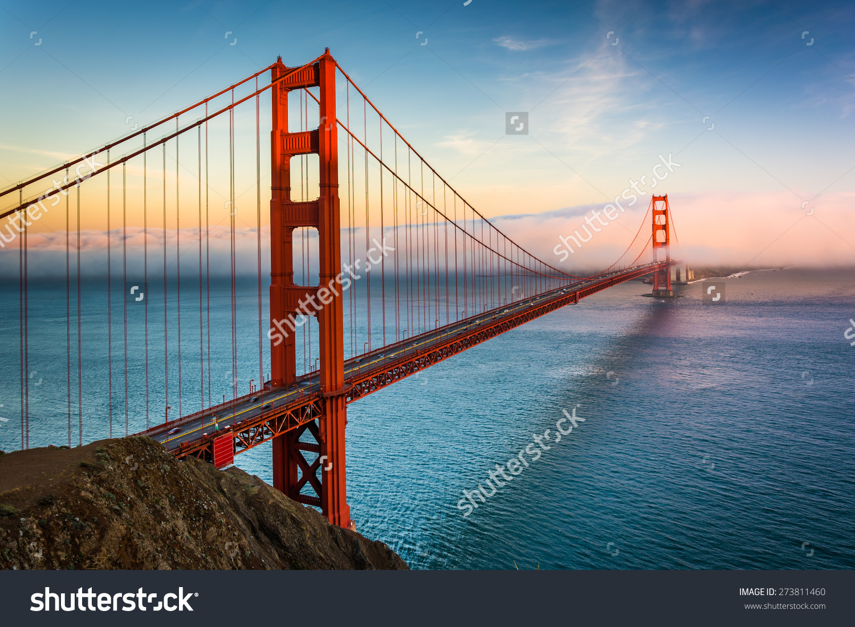 Sunset View Golden Gate Bridge Fog Stock Photo 273811460.