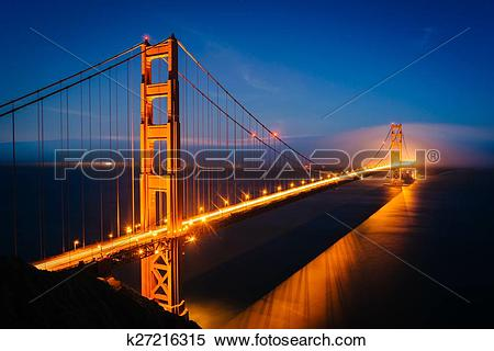 Stock Image of Night view of the Golden Gate Bridge and fog from.