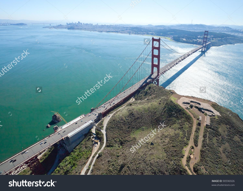 San Francisco Golden Gate Bridge Battery Stock Photo 90596926.