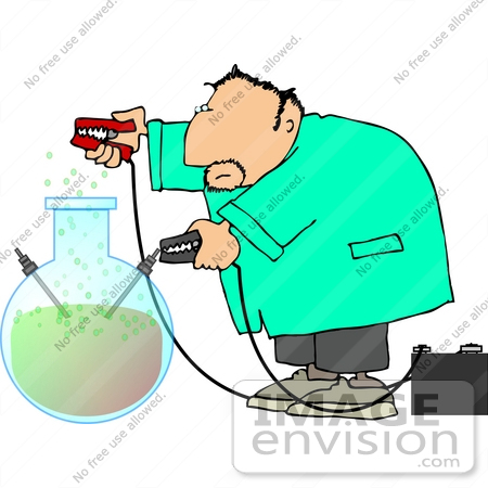 Scientist Using Jumper Cables on a Elixer Clipart.