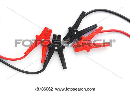 Stock Photo of Car battery jumper cables k8786062.