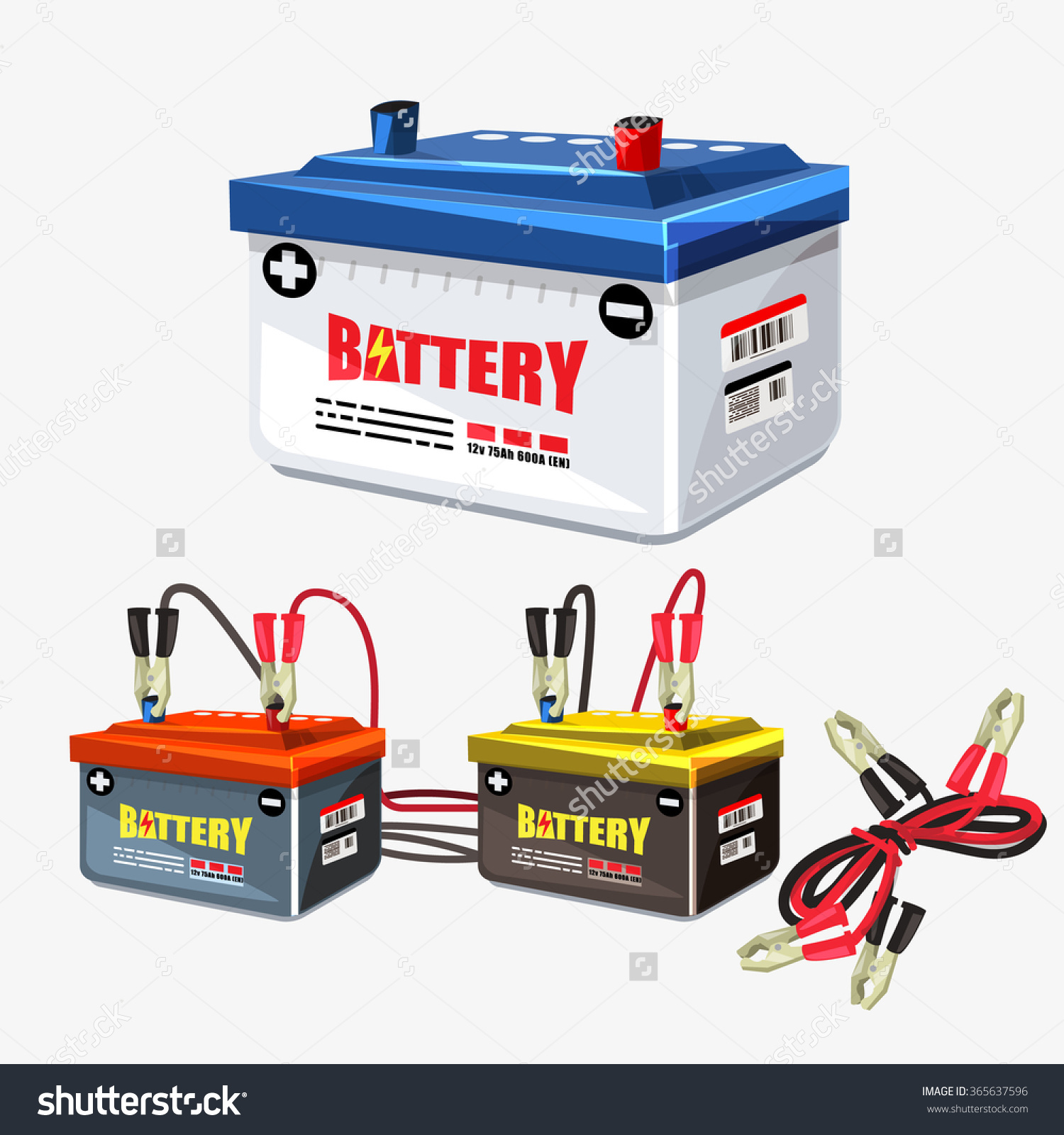 Car Battery Set Jumper Cable Jumper Stock Vector 365637596.