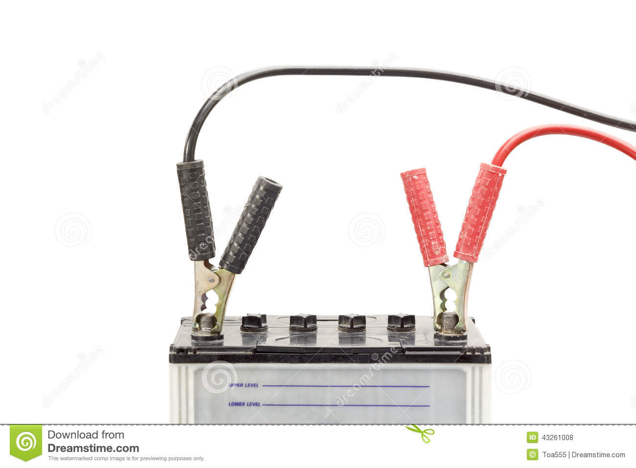 Car Battery With Jumper Cables Stock Photo.