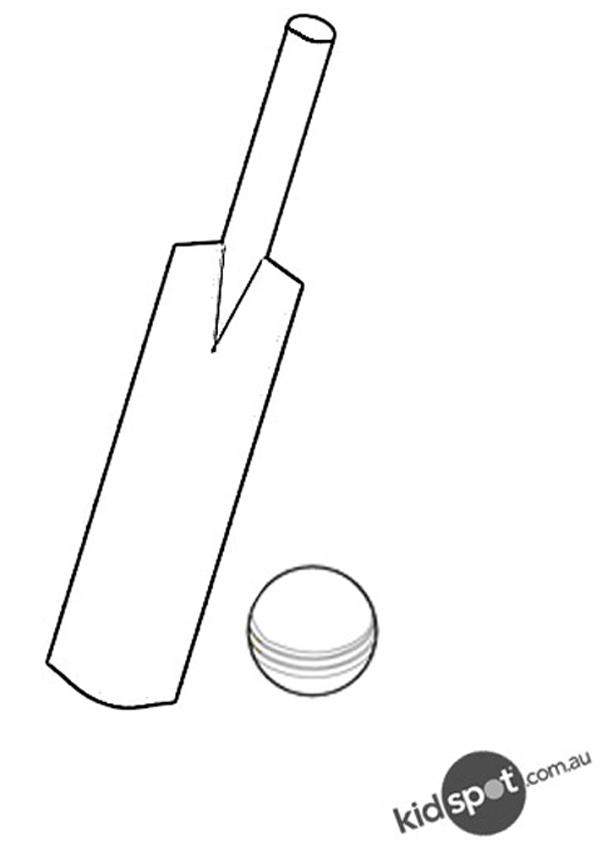 Cricket Bat Cartoon Black And White.