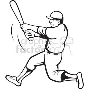 baseball batter swinging black white clipart . Royalty.