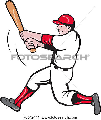 Clipart of baseball player batting cartoon k6542441.