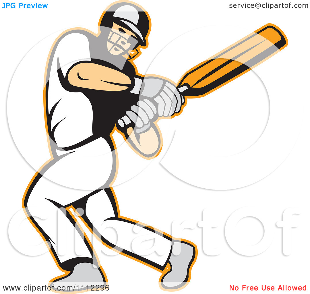 Cricket batting clipart.