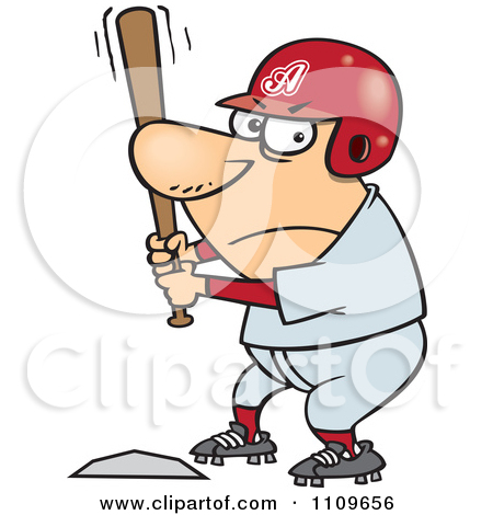 Clipart Outlined Aggressive Baseball Player Batting At Home Base.