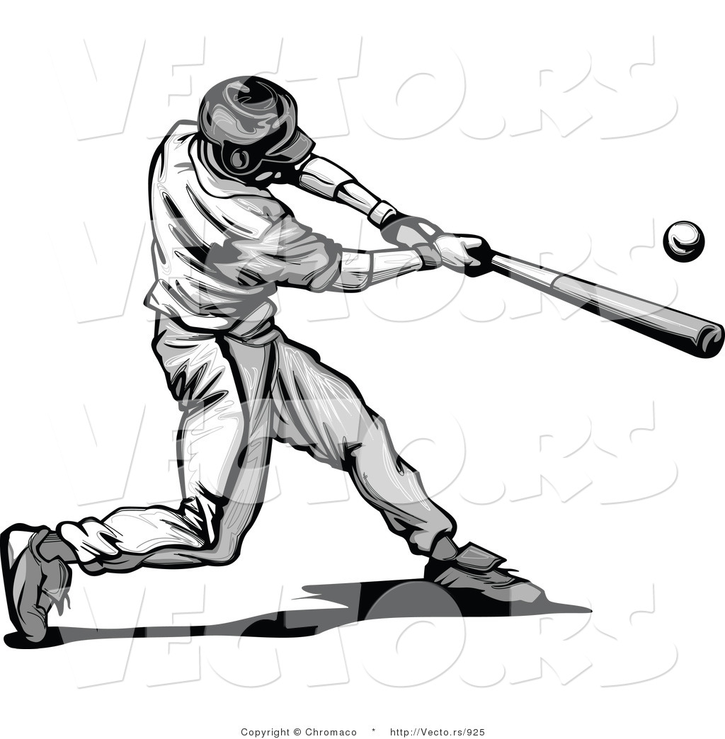 Baseball player batting clipart.