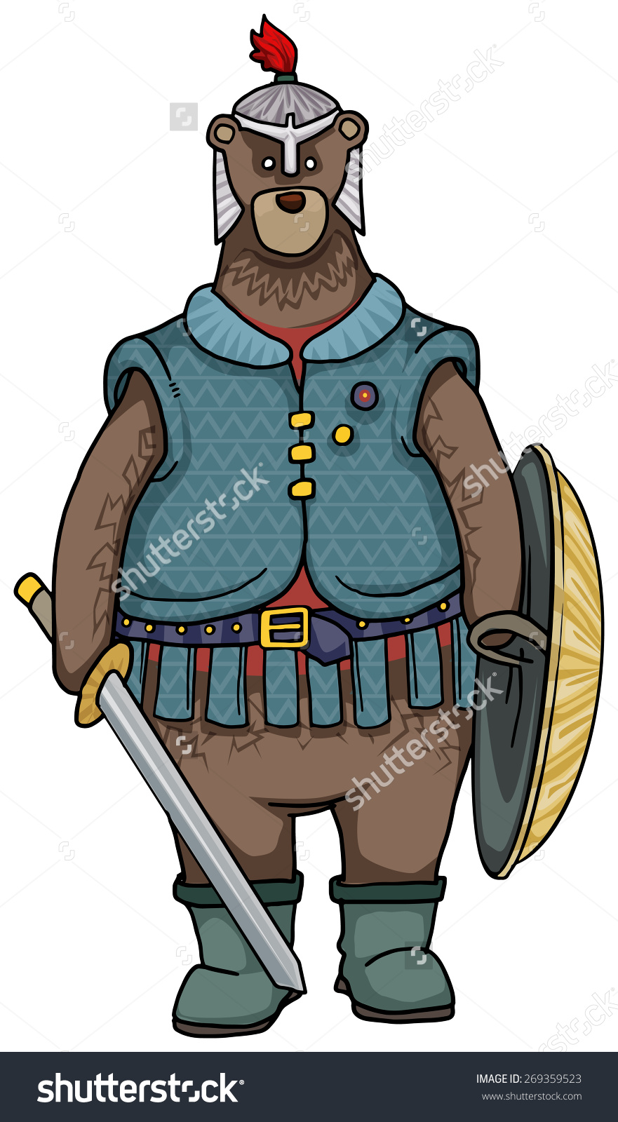 Battle Bear, Cute Cartoon Character Of A Bear In Armour, Vector.