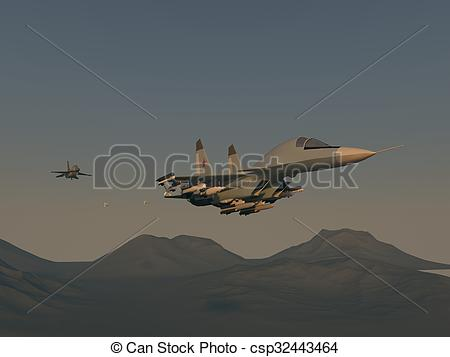 Stock Illustration of Turkish fighter attack on Russian bomber.