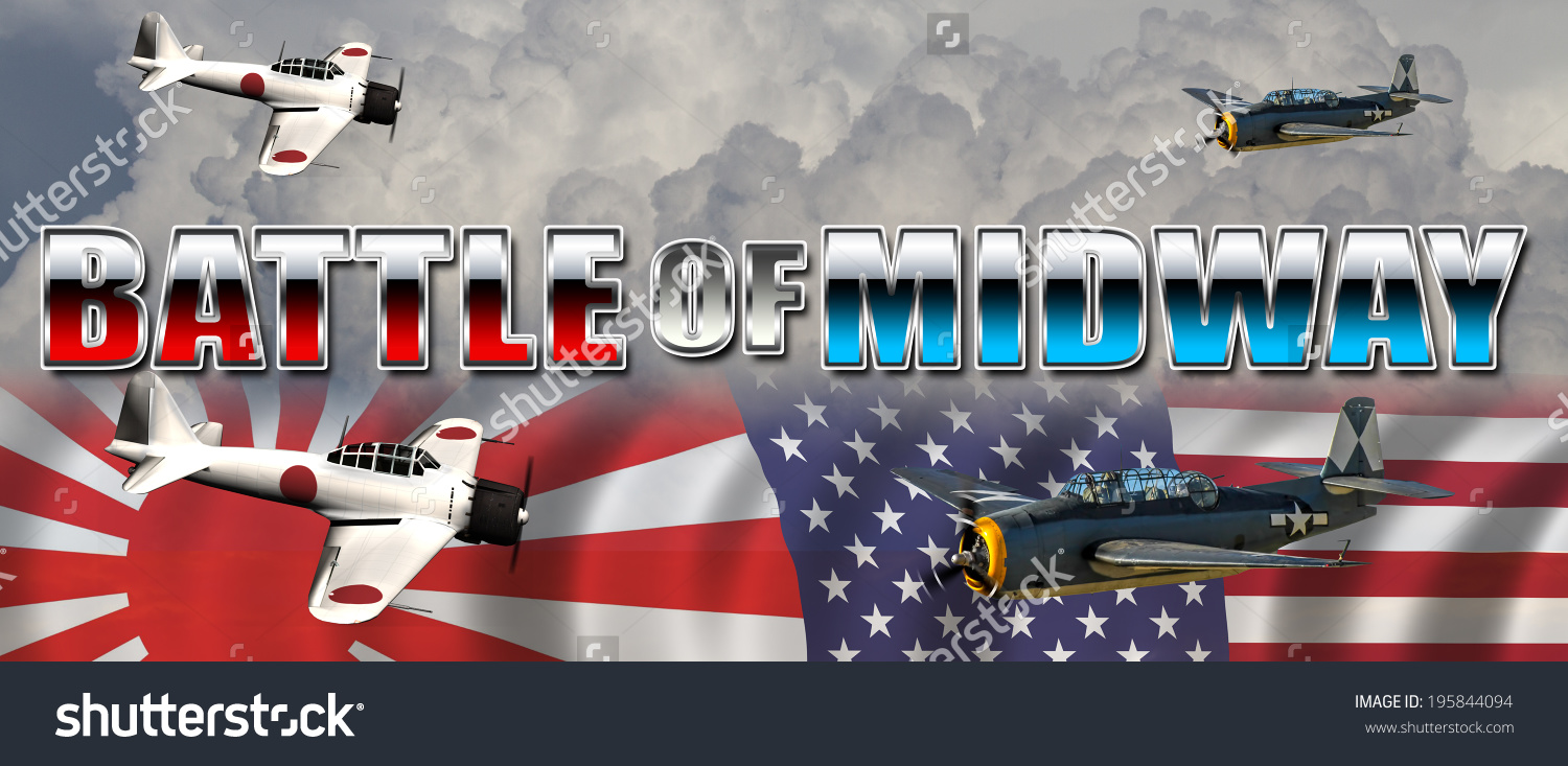 Battle Midway Banner Pacific War Between Stock Illustration.