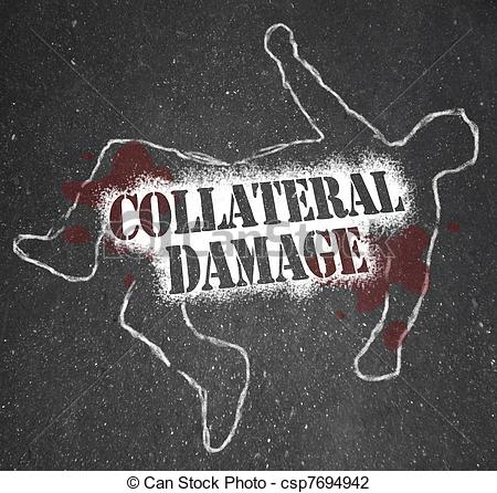 Clip Art of Collateral Damage Unintentional Injury Casualty of War.