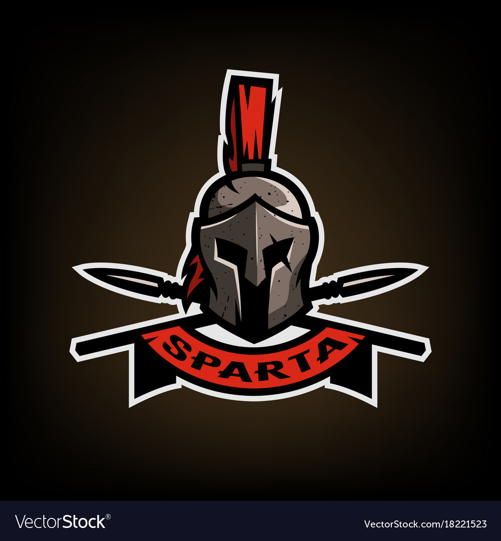 Spears and spartan battle helmet logo.