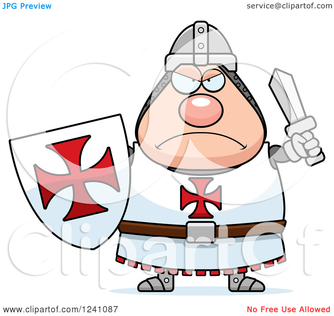 Clipart of a Mad Chubby Knight Templar Ready for Battle.